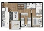 Apartamento com 2 dormitórios sendo 1 suíte